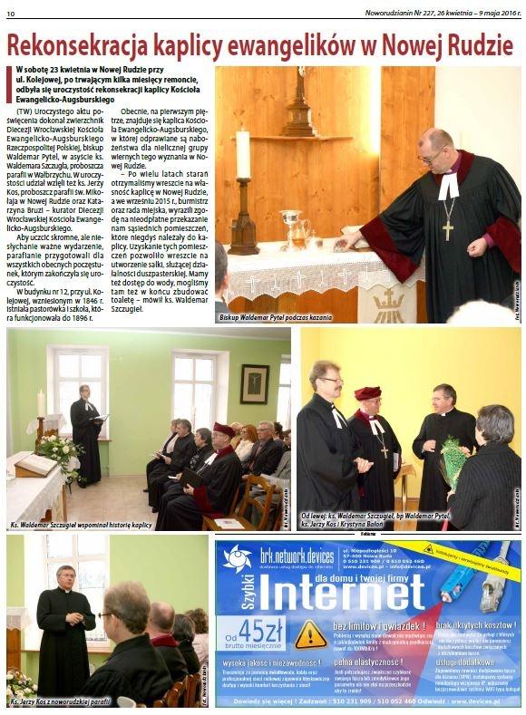 Rekonsekracja kaplicy w Nowej Rudzie 23.04.2016.